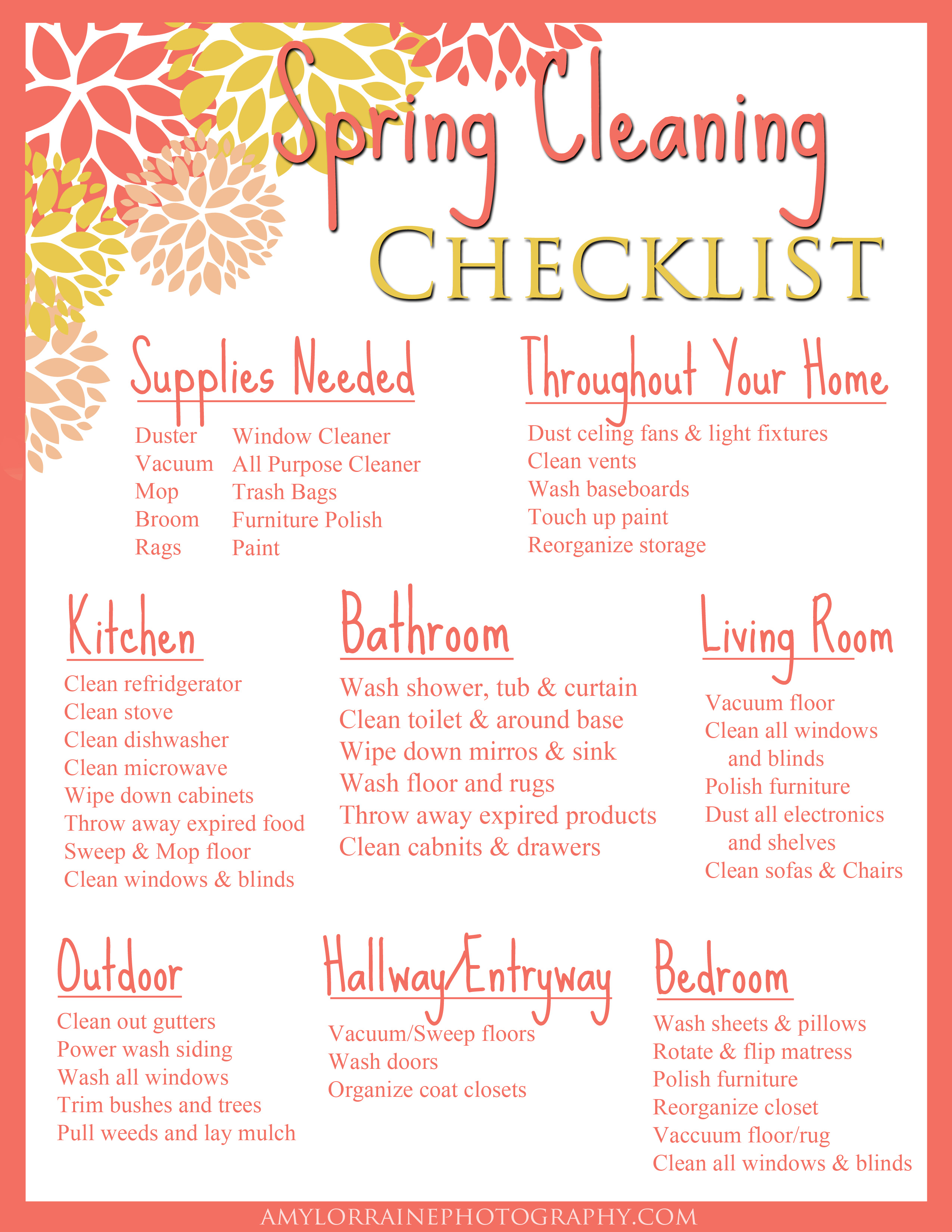 Sunday Funday | Free Printable Spring Cleaning Checklist | Amy Lorraine  Photography