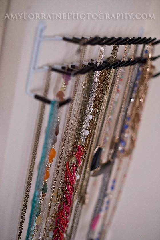 Necklace Holder out of a Tie/Belt Rack | Amy Lorraine Photography