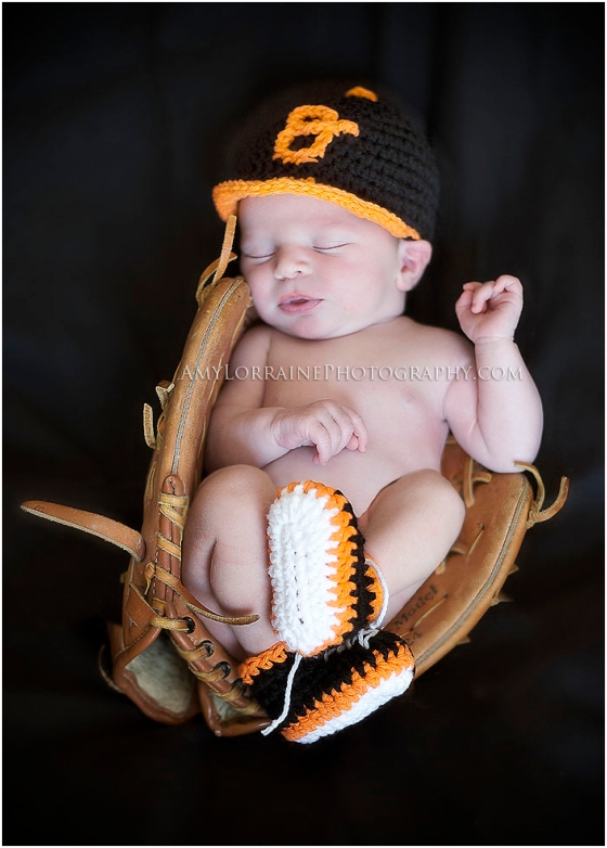 Baseball Orioles Newborn Photography | www.amylorrainephotography.com