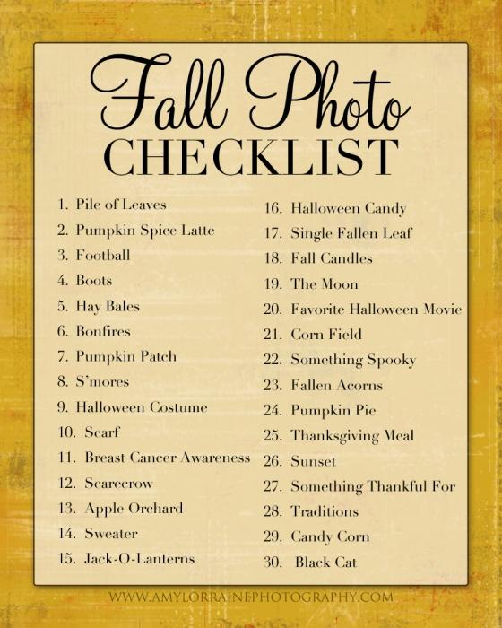 Fall Photo Checklist | www.amylorraineblog.com
